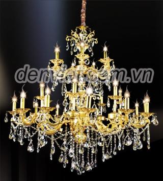 Đèn chùm pha lê nến mạ màu vàng 18K phong cách châu âu | Đèn Trang Trí, Đèn Led - Đèn Việt