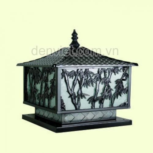Đèn trụ sân vườn họa tiết rừng trúc màu đen