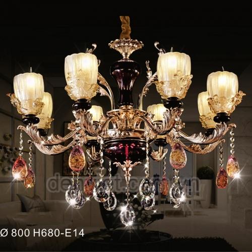 Đèn chùm pha lên nến hiện đại trang trí phòng khách sang trọng