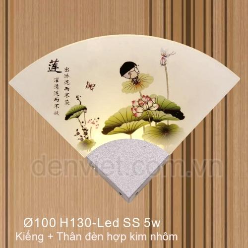 Đèn tường kiểu ý hình quạt giấy họa tiết hoa sen trang trí phòng khách
