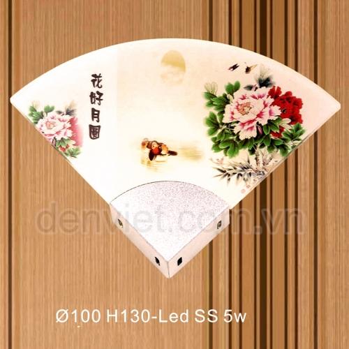 Đèn tường kiểu ý hình quạt giấy họa tiết hoa mẫu đơn trang trí phòng khách