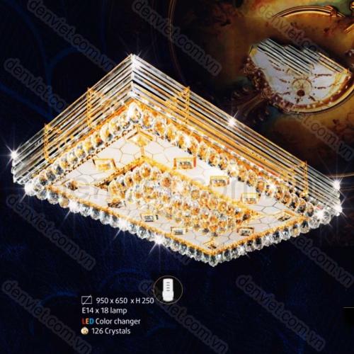 Đèn chùm LED pha lê áp trang trí phòng khách sang trọng