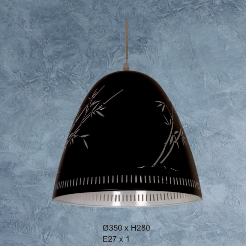 Đèn thả bàn ăn thiết kế đơn giản họa tiết cành trúc