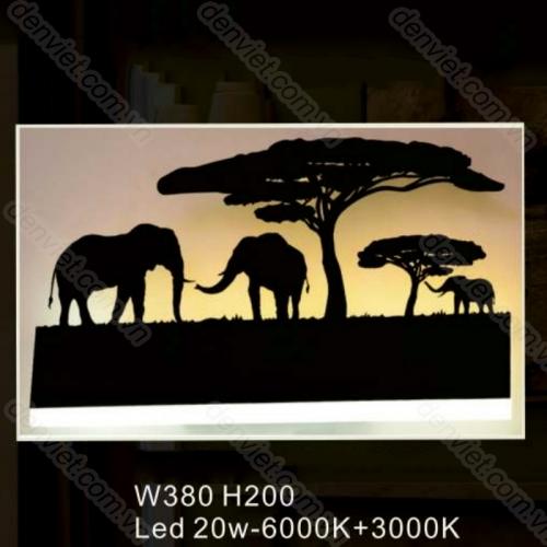 Đèn tường LED cao cấp bức tranh đàn voi trang trí phòng khách