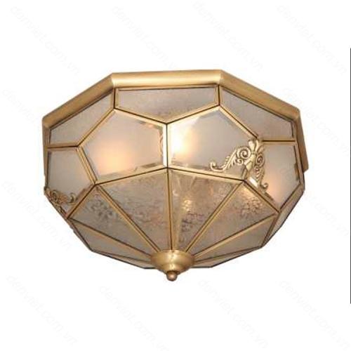 Đèn mâm áp trần đồng thiết kế đơn giản trang trí hành lang