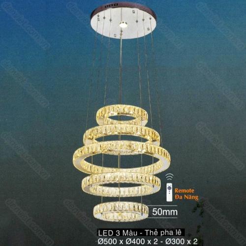 Đèn chùm thả pha lê LED cao cấp trang trí phòng khách