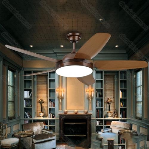 Quạt trần đèn cánh gỗ thiết kế hiện đại