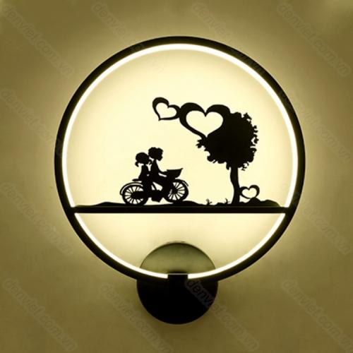 Đèn tường hiện đại hình hai đứa bé đạp xe