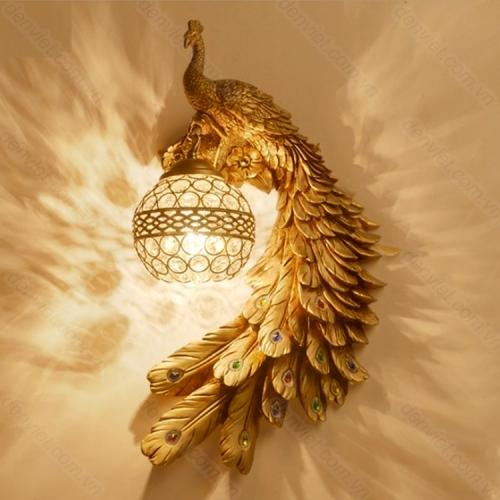 Đèn tường cổ hình chim công cực đẹp trang trí phòng khách