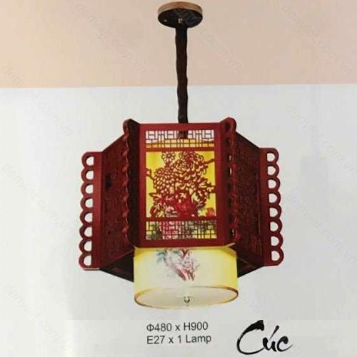 Đèn thả đèn lồng gỗ cao cấp hình hoa cúc