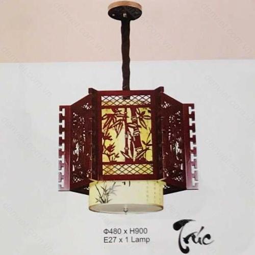 Đèn thả đèn lồng gỗ họa tiết cành trúc