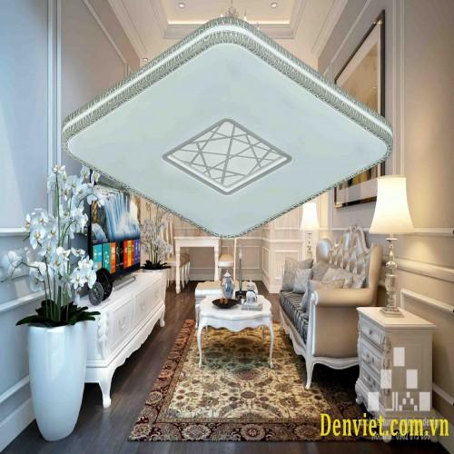 Đèn áp trần Led vuông hoa văn viền , Led 3 màu, thiết kế sang trọng trang trí phòng khách ML1343