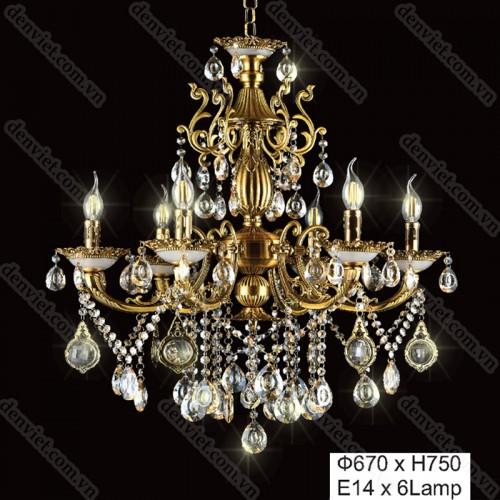 Đèn chùm pha lê nến cao cấp thiết kế cổ điển sang trọng