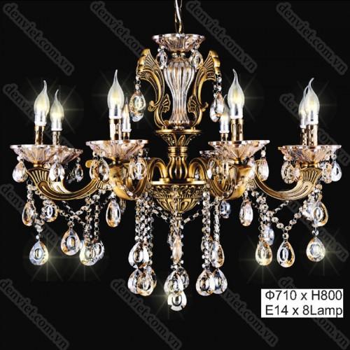 Đèn chùm pha lê nến cao cấp thiết kế cổ điển trang trí nội thất cực đẹp
