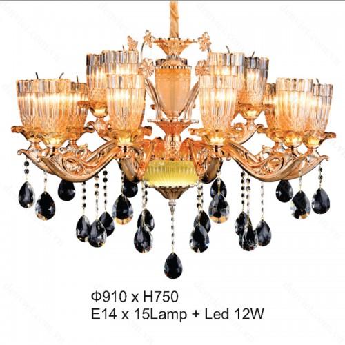 Đèn chùm pha lê nến cao cấp trang trí nội thất thiết kế đẹp