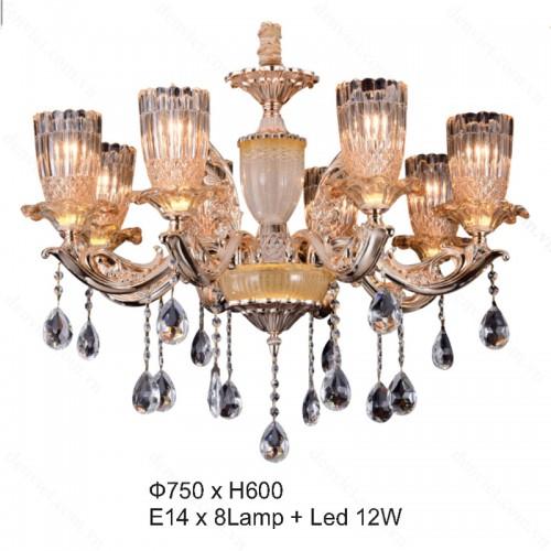 Đèn chùm pha lê nến cao cấp trang trí nội thất thiết kế hiện đại