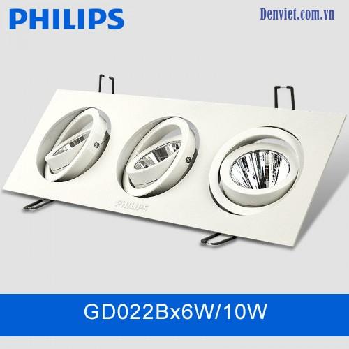 Đèn LED downlight âm trần GD022B 3x6w10w