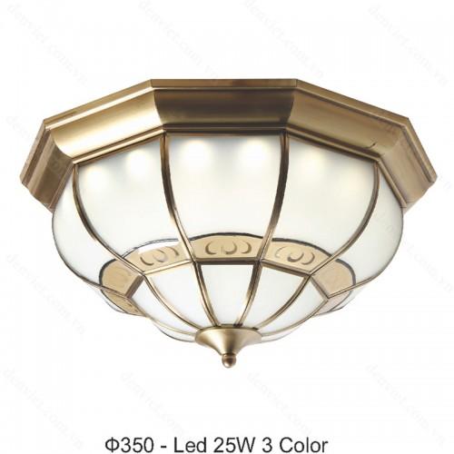 Đèn mâm áp trần đồng cao cấp trang trí phòng khách sang trọng