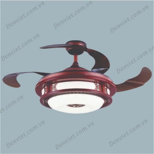 Quạt trần đèn gỗ cao cấp, kiểu đèn lồng YQT13