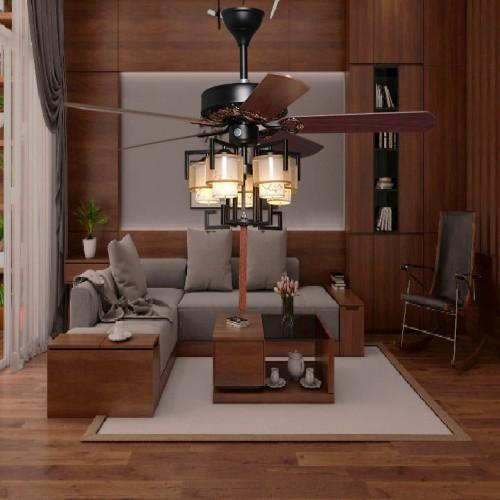 Quạt trần đèn gỗ cao cấp phong cách cổ điển trang trí phòng khách, phòng ngủ