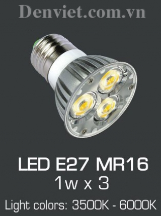 Bóng E27 LED MR16 1w x 3